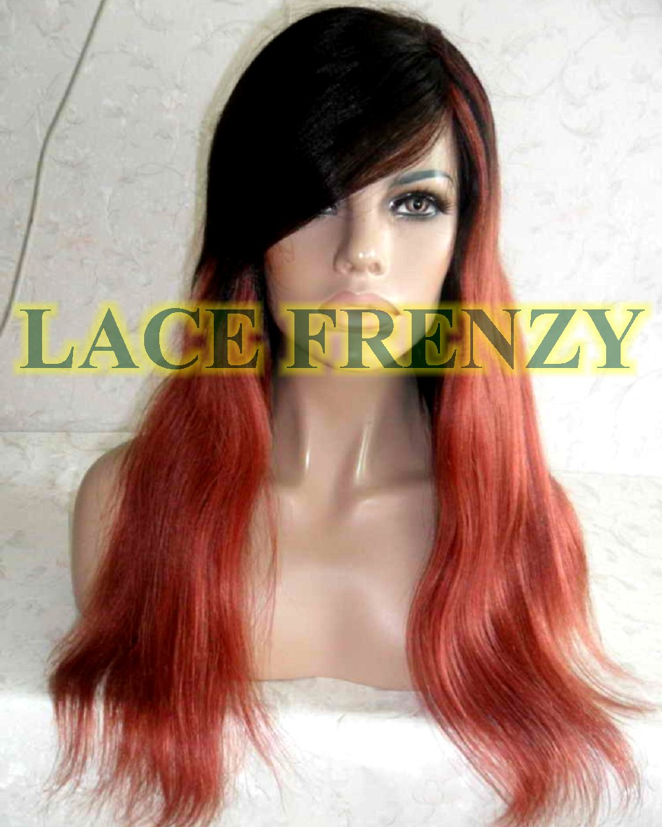 Adriana - 18 Inches - Indian Remy Hair- Yaki w/ Side Bang - Ombre - Lace Front Wig