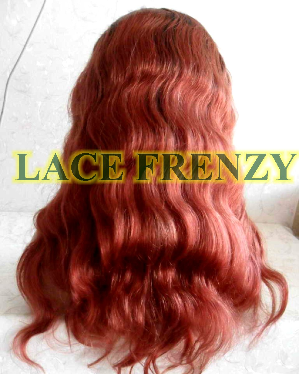Bold red wavy human hair lace front wig