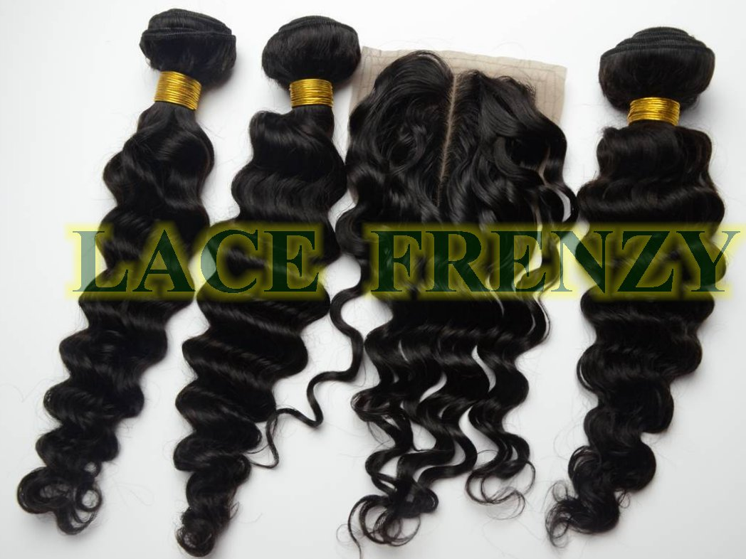 Brazilian Virgin Hair - Deep Wave - 3.5x4 inches - Top Closure & Machine Weft Bundle Kit