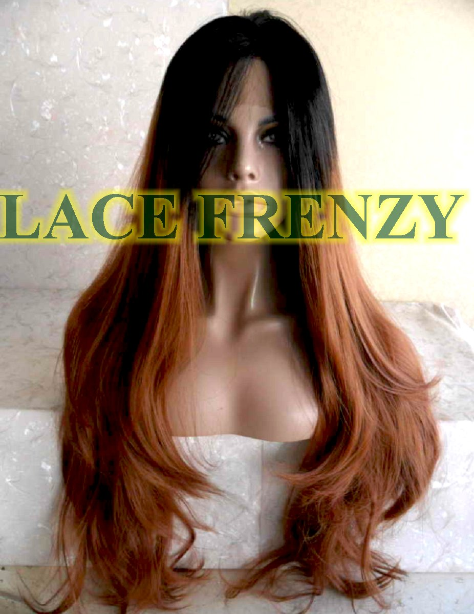 Ombré heat safe loose body curl lace front wig