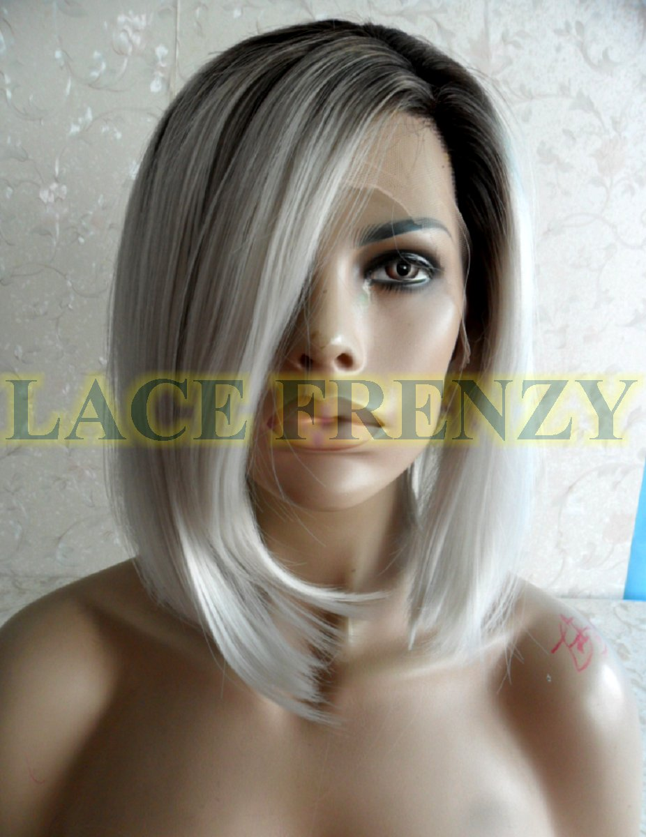 OMBRE gray Bob styled lace front wig