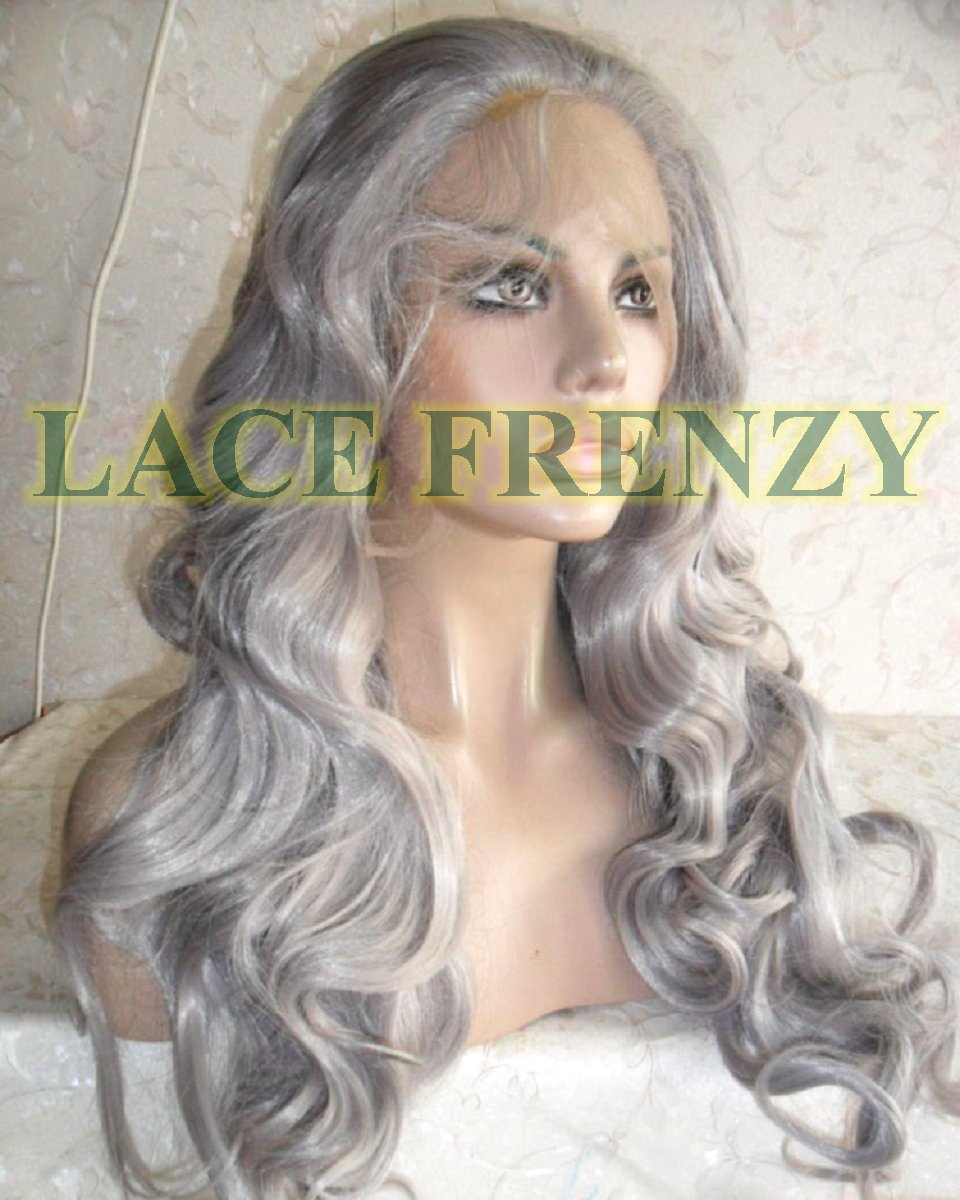 Gray body curl lace front wig