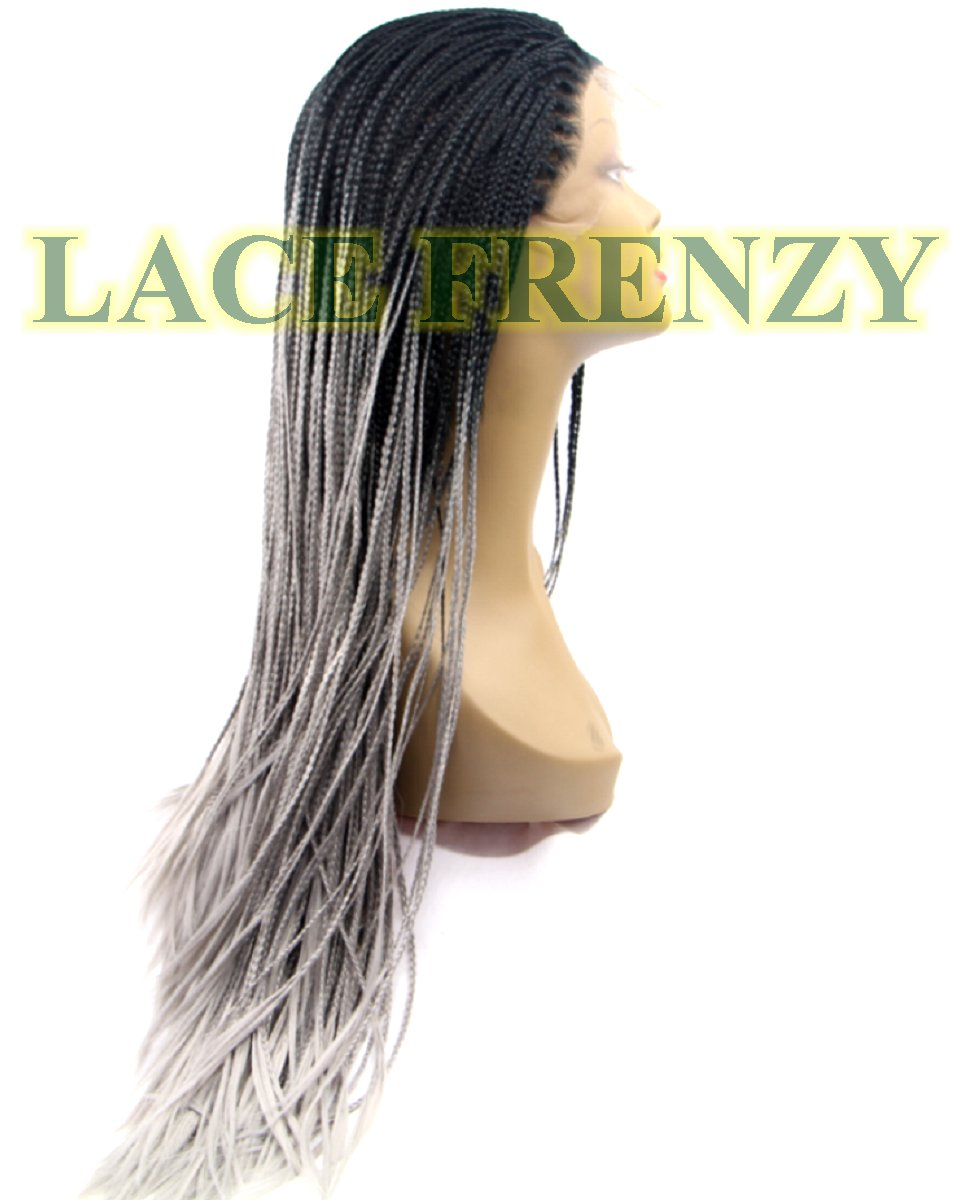 Roxi - Gray Ombre' Box Braid - Pre- Braided Lace Front Wig