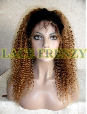 Idalle-16 Inches- Indian Remy Hair- Two Toned - Deep Curly - Lace Front Wig