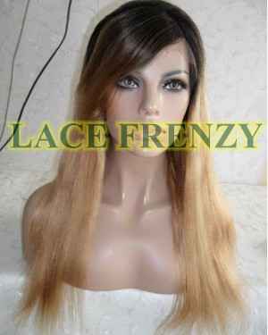 Kari 18 Inches Two Toned Indian Remy Hair Lace Front Wig w/ Bang