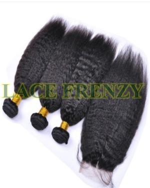 Kinky straight machine weft human hair extensions