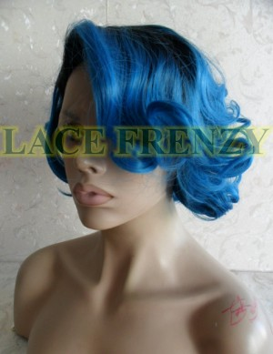 Bob styled blue ombré lace front wig