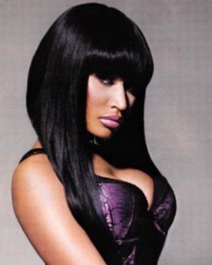 Nicki Minaj - Celebrity Replica - Asymmetrical Bob Cut w/ Bang - Lace Front Wig