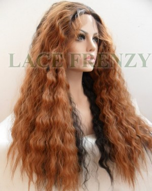 Very long wavy ombré heat safe lace front wig