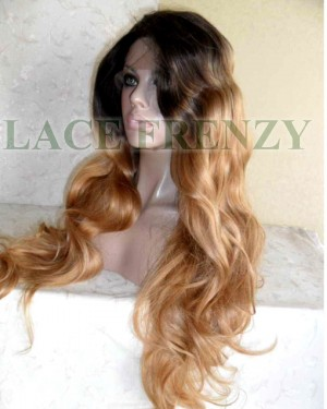 Long wavy two toned heat safe lace front wig