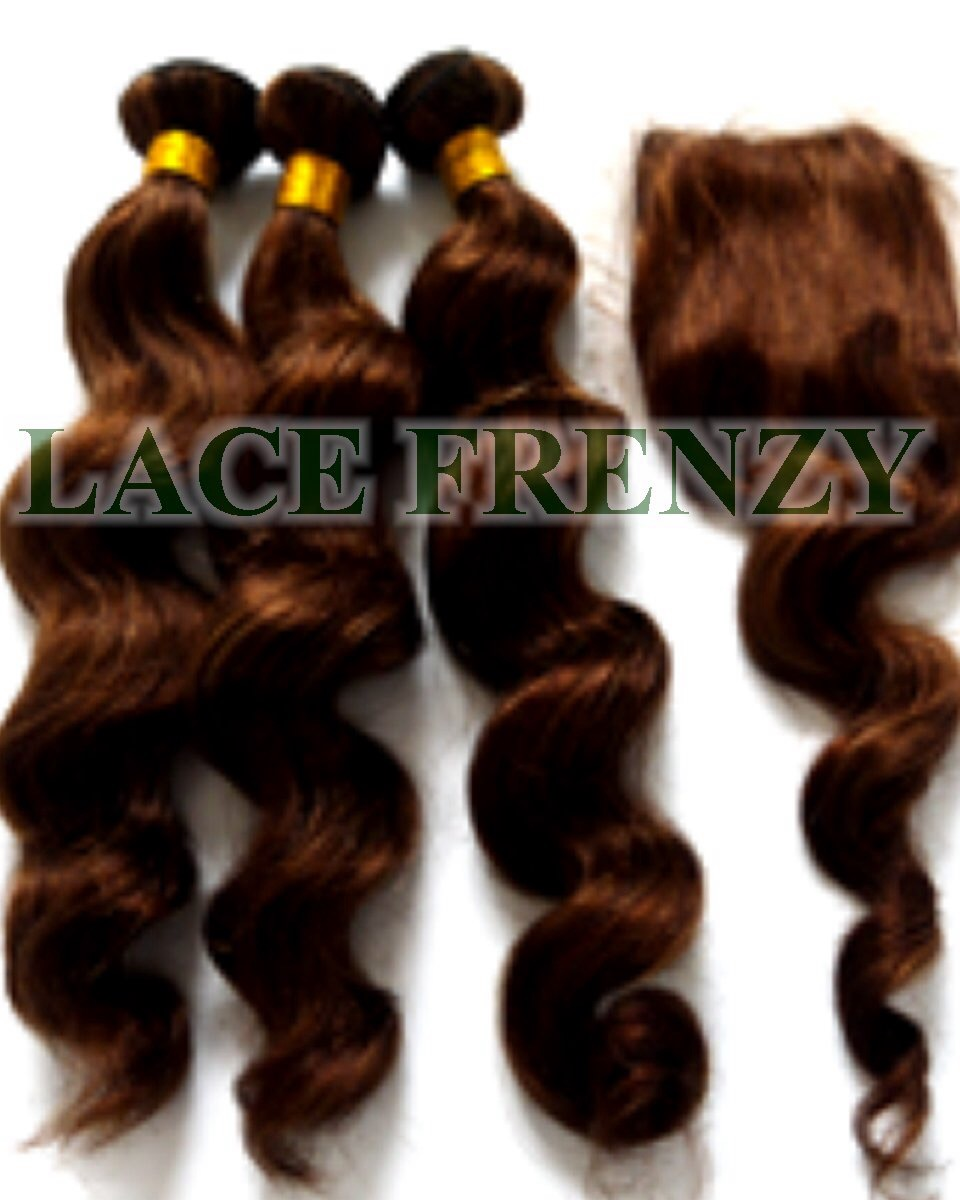 Loose Wave - 4x4 Inches - Silk Top Closure and 300G- Layered- Machine Weft Bundle Kit