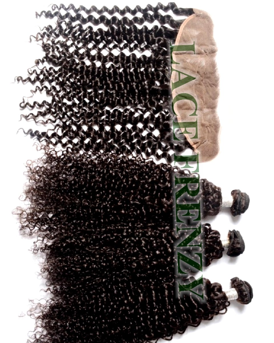 Peruvian Virgin - Kinky Curly- 13x4 Inches Lace Frontal & 300G Machine Weft Bundle Kit