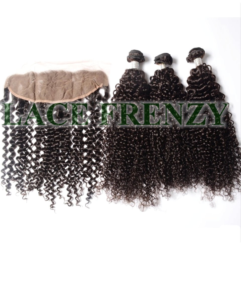 Peruvian Virgin Hair - Kinky Curly -13x4 Inches Lace Frontal & 300G Machine Weft Bundle Kit