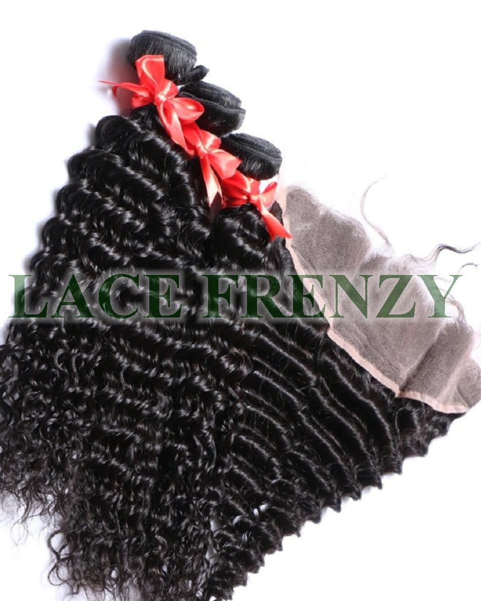 Brazilian Virgin Hair-Deep Wave-13x4 Inches Lace Frontal &300G Machine Weft Bundle Kit