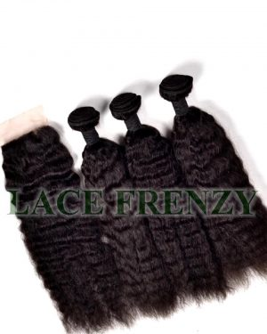 Brazilian Virgin Hair -Kinky Wave- 4x4 Inches - Top Closure and 300G- Layered- Machine Weft Bundle Kit