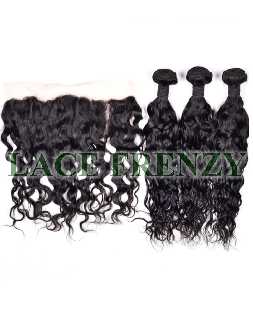Grade 7a Virgin Hair- Water Wavy- 13x4 Inches Lace Frontal & 300G Machine Weft Bundle Kit