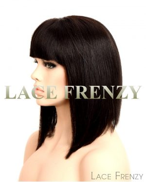 lora 14 inches straight bob with handtied bang lace front wig