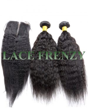 Kinky Straight - Mongolian Virgin Hair - 3.5x4 Inches Closure and 200g Bundle