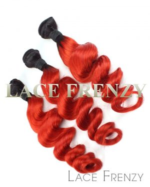 Virgin Human Hair - Loose Wave TToned Crimson Red - Layered Bundle Hair