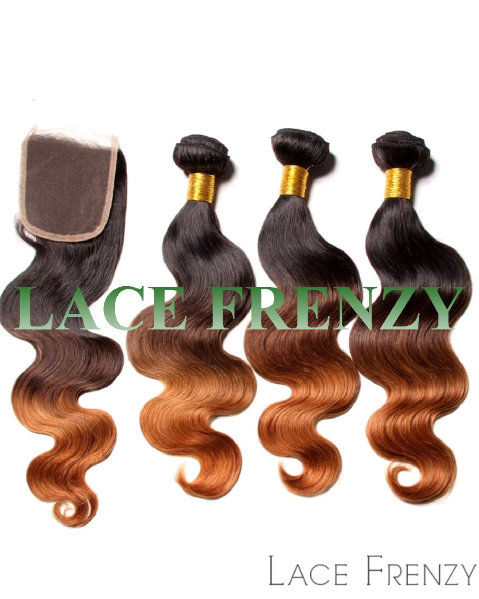 sombre 4x4 inches lace closure and layered bundle hair kit