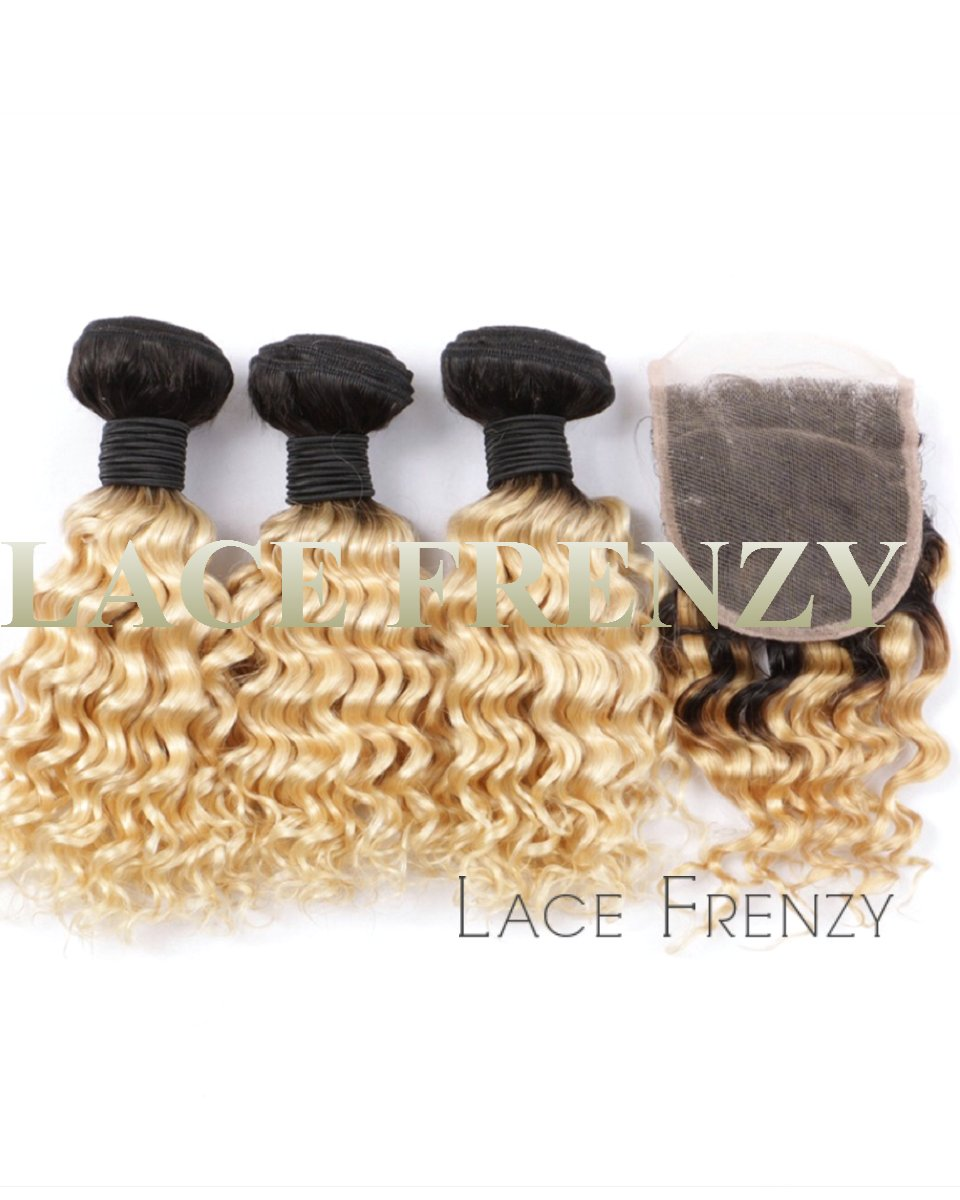two toned curly 4x4 inches lace closure and layered bundle hair kit