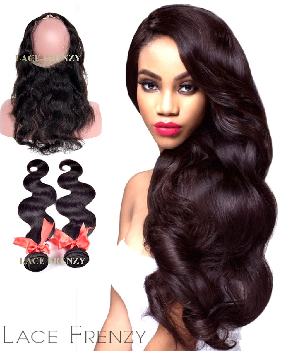 Virgin Human Hair -Body Wave 360 Frontal with 2 Bundles