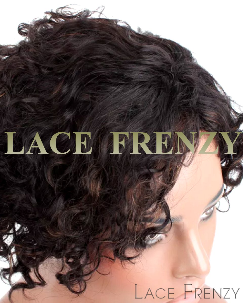 Barb - 6 Inches - Curly - Indian Remy Hair - Machine Made Wig