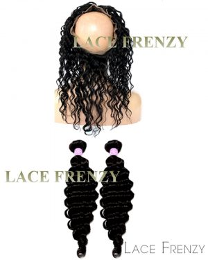 Brazilian Virgin Hair - Deep Curly - 360 Frontal with 2 Bundles