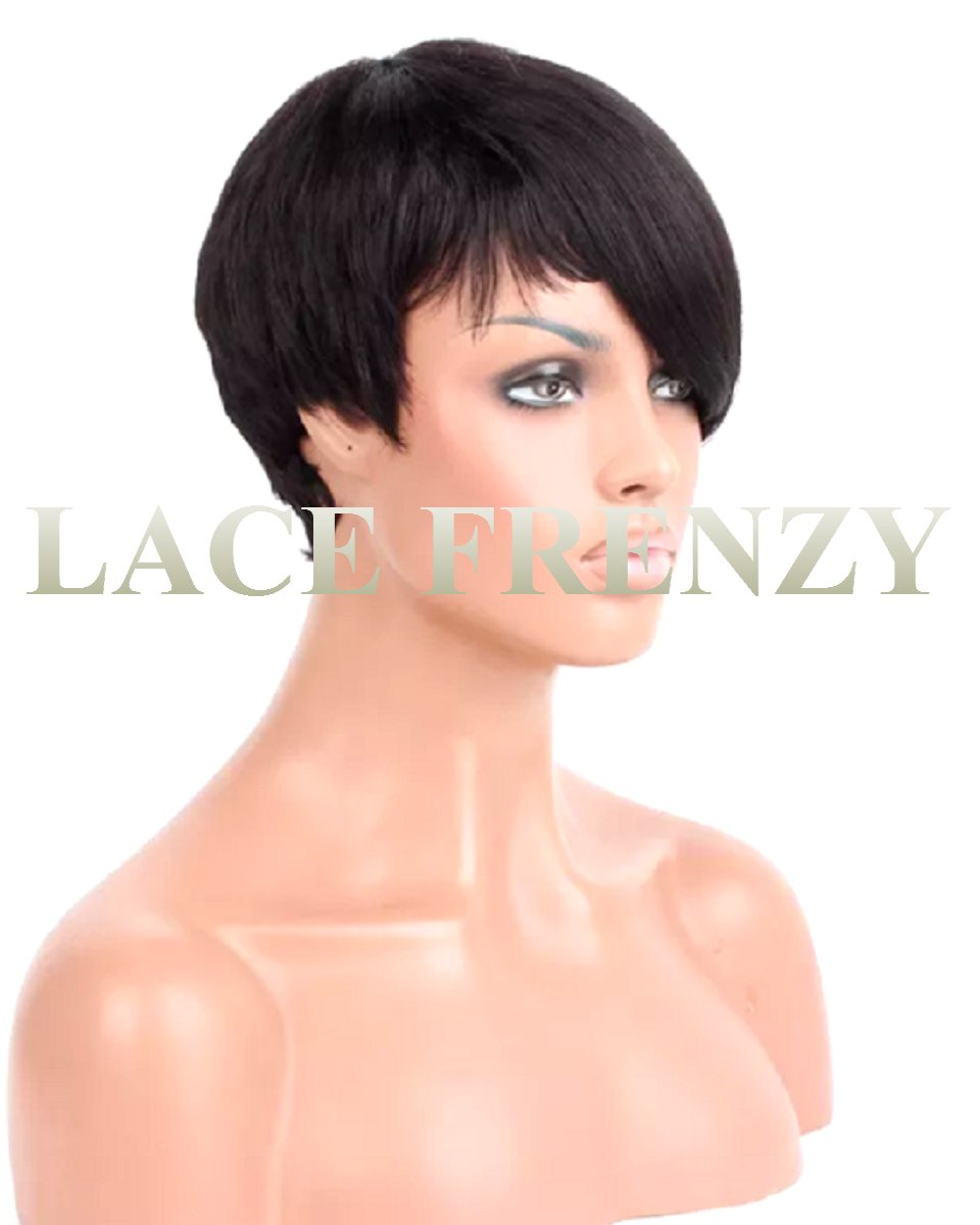 6 inches asymmetrical boy cut indian remy human hair machine made wig