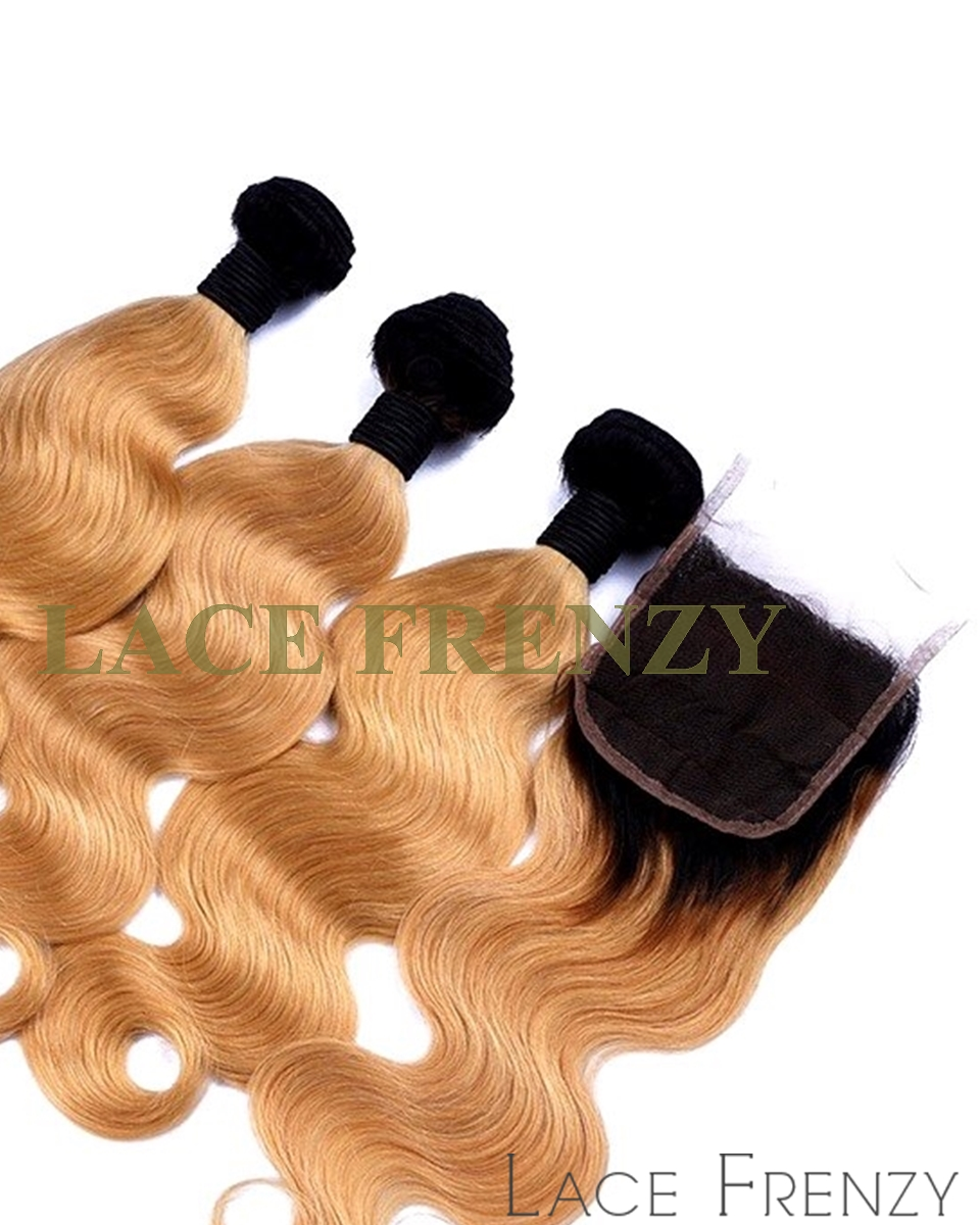 Virgin Human Hair - 4x4 Inches TToned Lace Closure and Layered Bundle Hair