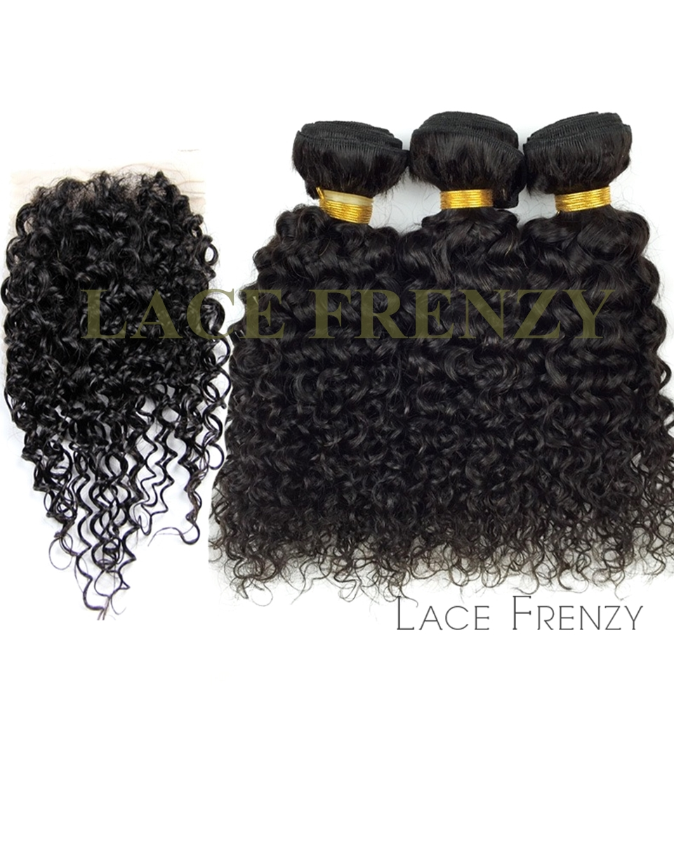 Jerry Curl - 4x4 Inches - Lace Closure and Layered Bundle Hair Kit