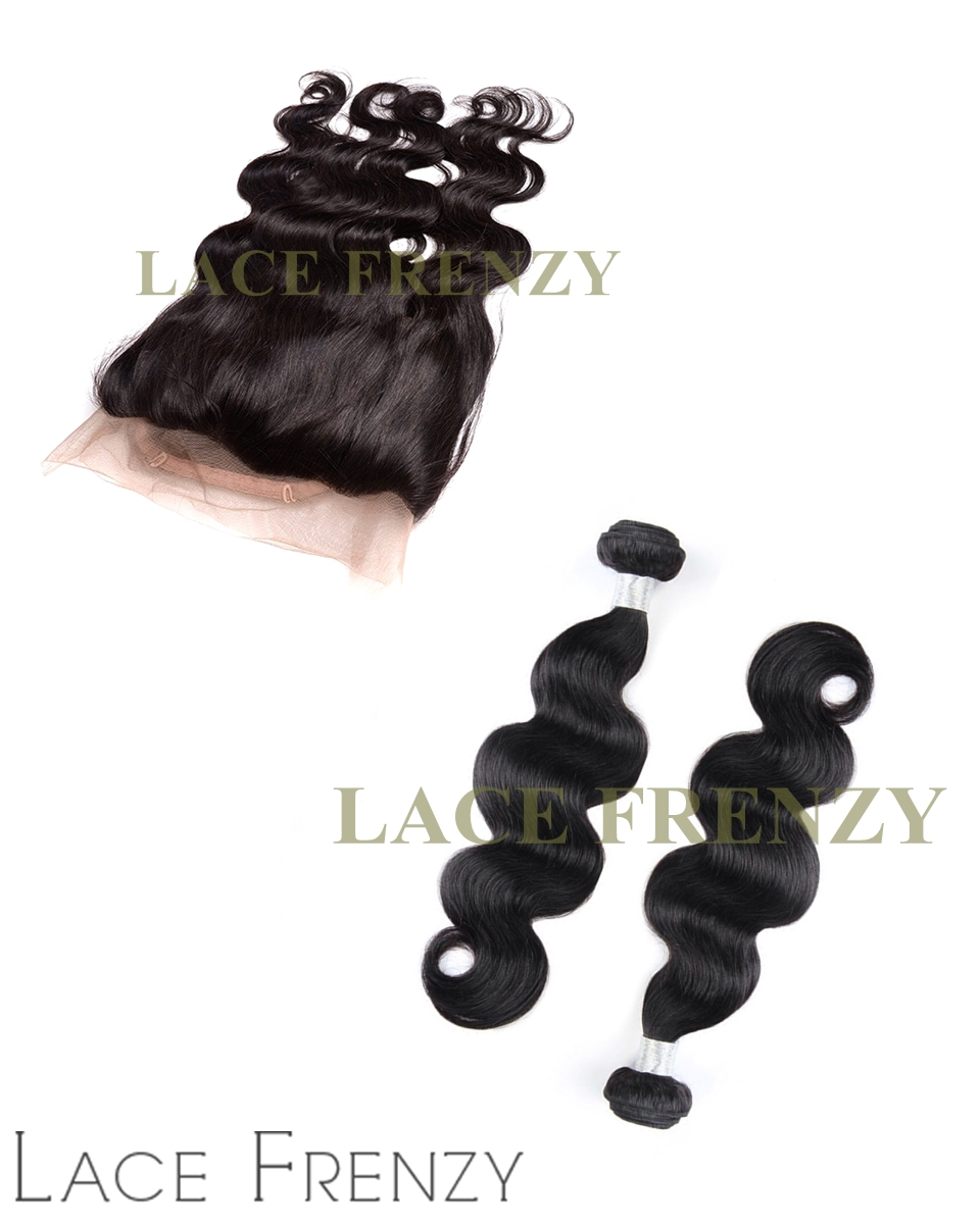 Virgin Human Hair - Body Wave - Silk Base 360 Frontal w/2 Bundles