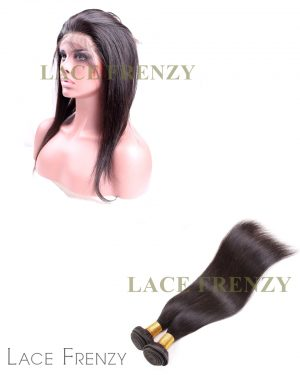 Straight-Virgin Human Hair- Silk Base 360 Frontal w/2 Bundles