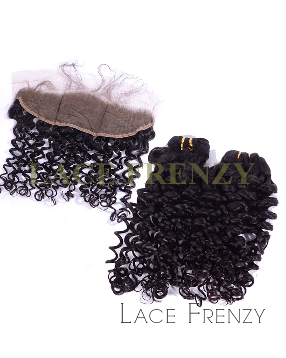 Peruvian Virgin Hair -13x4 Inches Deep Curly- Lace Frontal and Bundle Hair