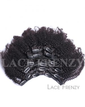 Virgin Human Hair - Afro Kinky Curly - 8pcs Clip-In Hair Extension