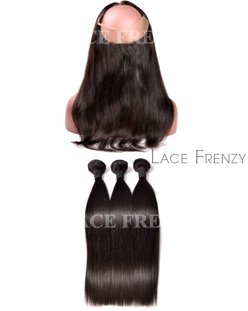 Straight -Virgin Human Hair - 360 Frontal with 3 Bundles
