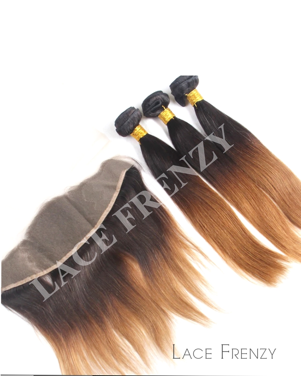 Indian Remy Hair Ombre' Straight 13X4 Inches Lace Frontal With 300G Bundle Kit