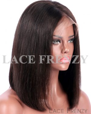 Taj- Bob Styled -Light Yaki- Brazilian Virgin Human Hair Lace Front Wig