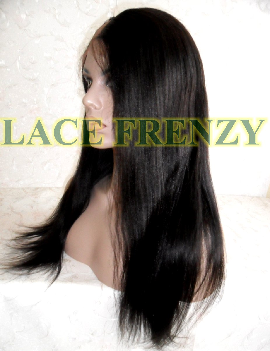 Light Yaki left part Indian remy human hair u-part lace wig with seven combs inside with adjustable Straps