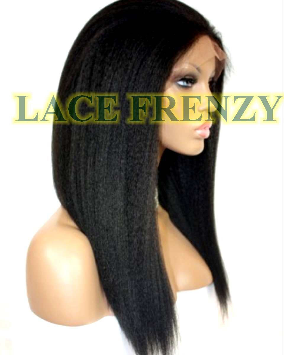 Jersey- Kinky Straight- Indian Remy Hair-Glueless full lace wig