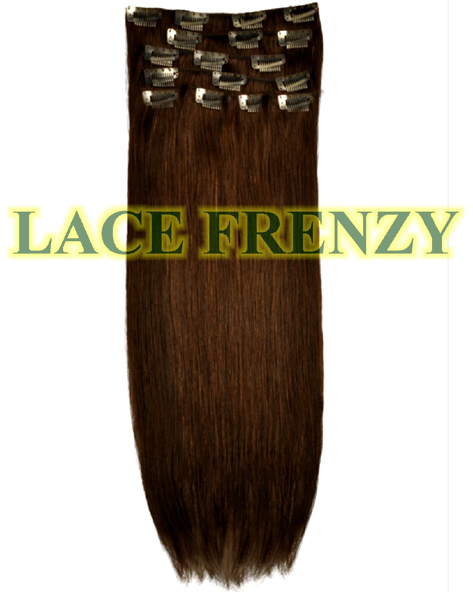 Indian Remy Yaki 10pcs Clip In Hair Extension Lace Frenzy Wigs