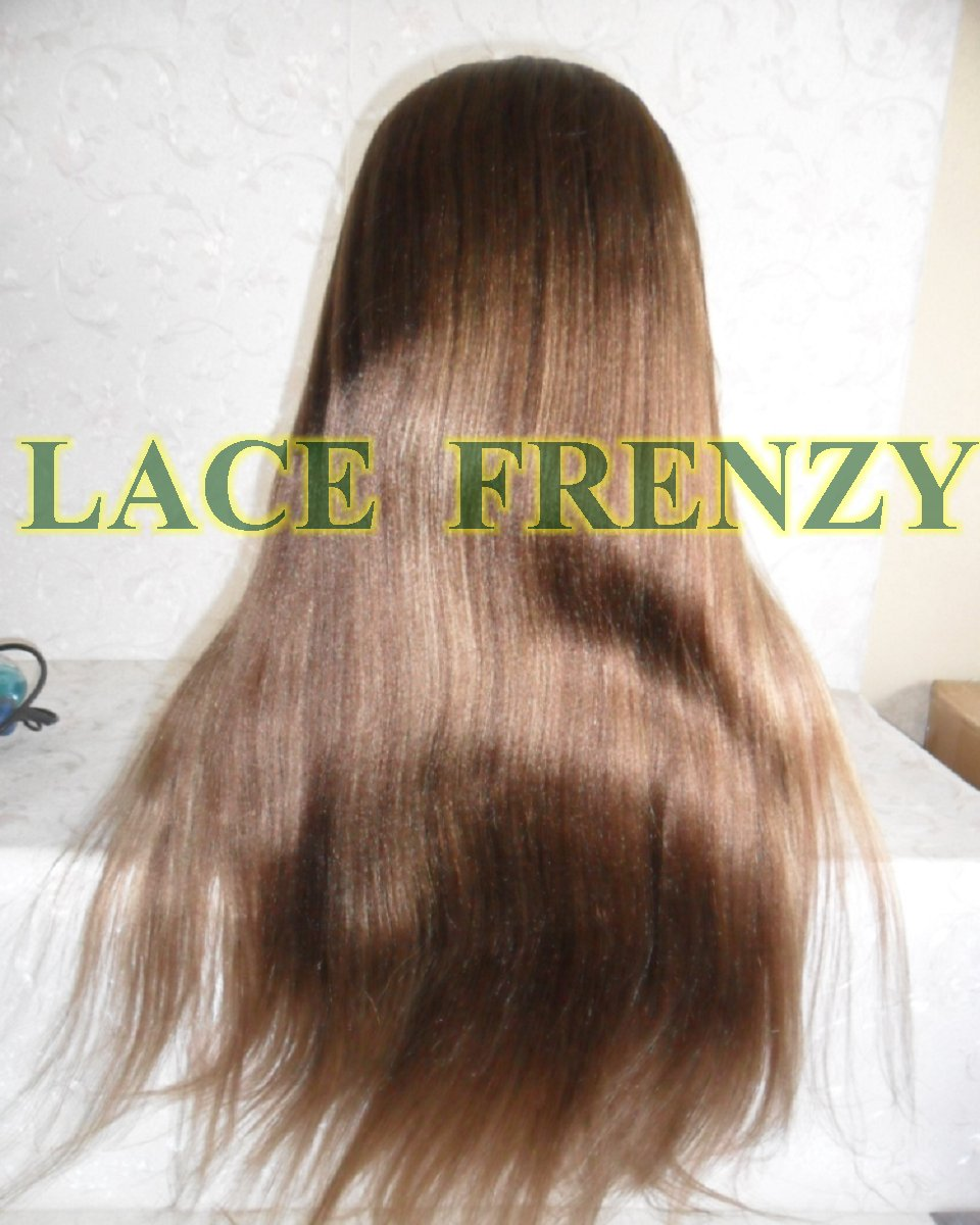 22 inches Indian remy human hair light Yaki dirty blonde lace front wig with Handtied side bang