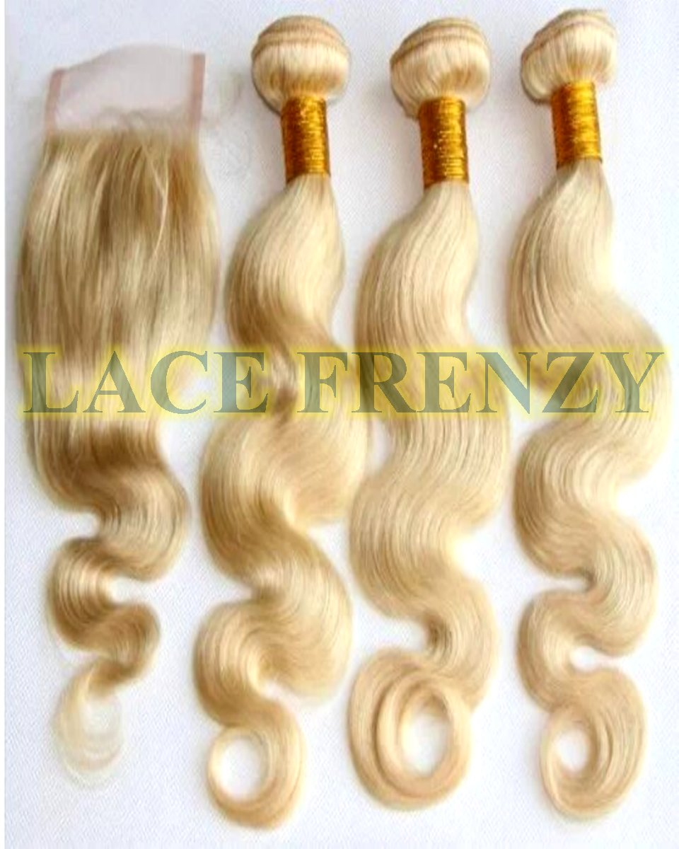 Brazilian Virgin Hair- Body Wave - Top Closure and 300g Machine Weft Bundle Kit