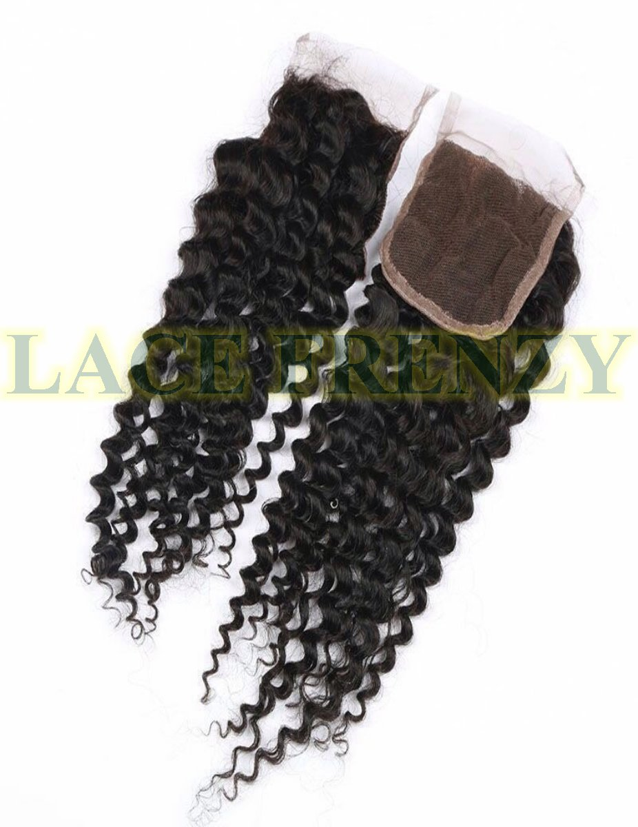 Grade 7A virgin hair deep wave top closure