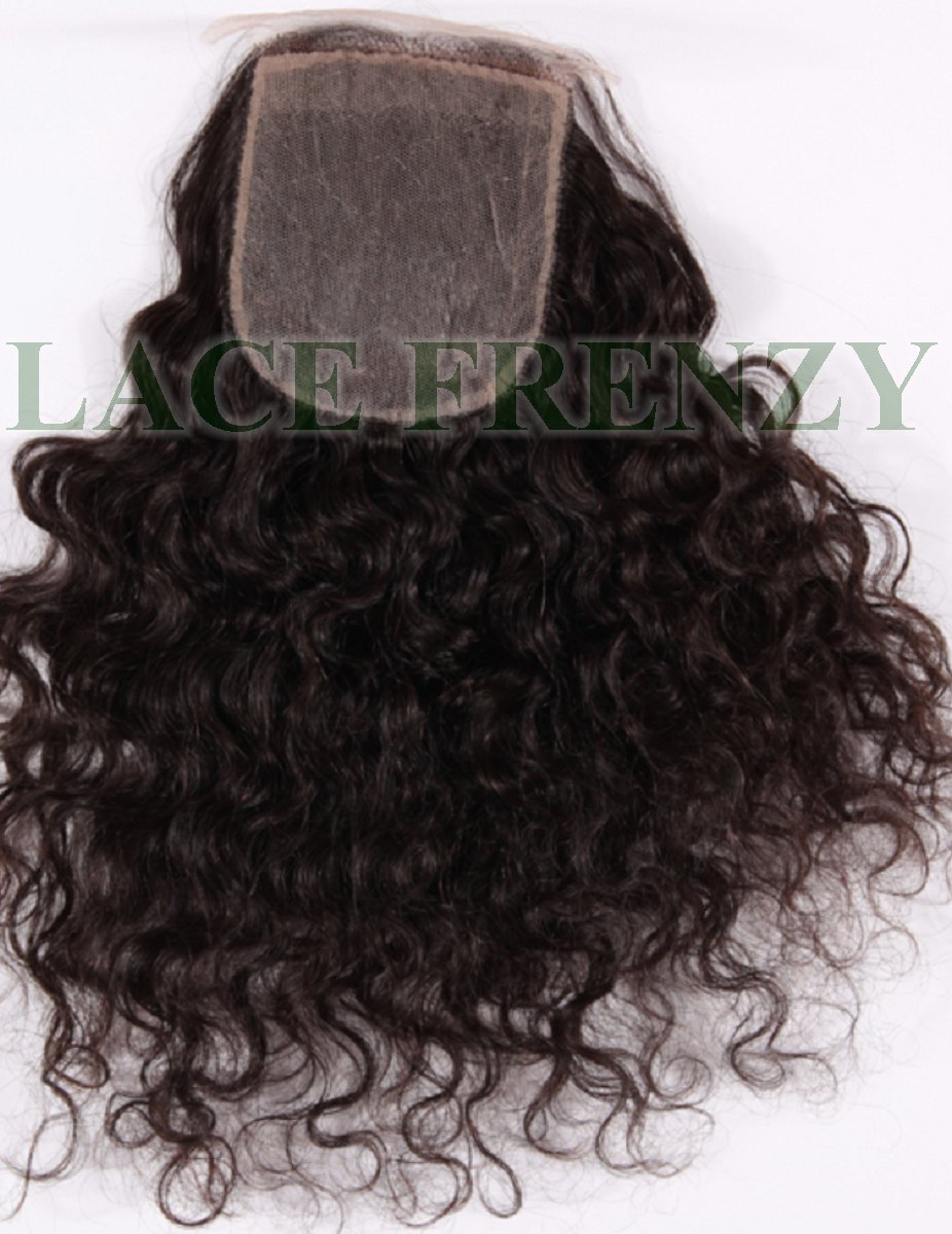 Natural curly Brazilian virgin silk base top closure