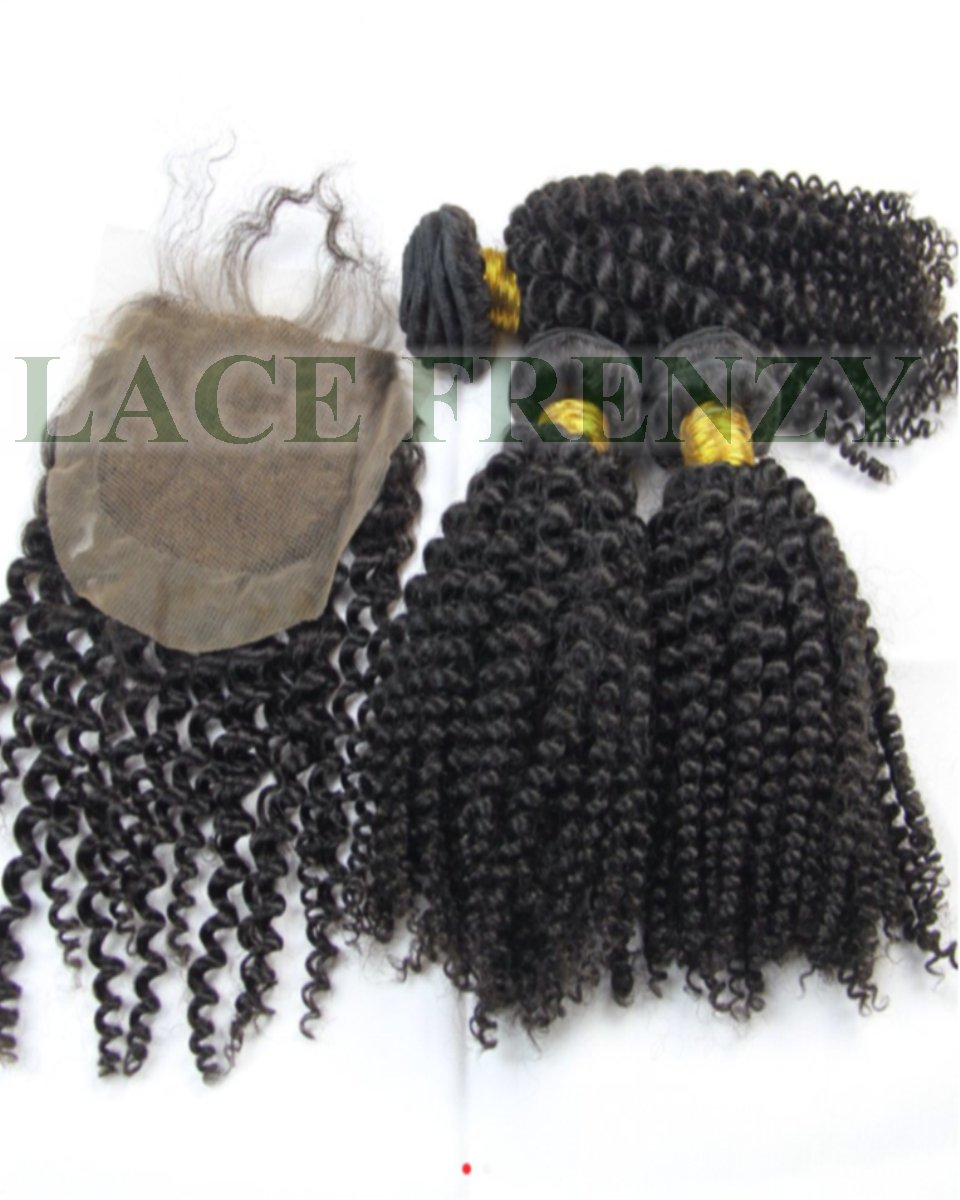 kinky Curly - 3.5x4 Inches - Silk Top Closure and 300G Layered Machine Weft Bundle Kit