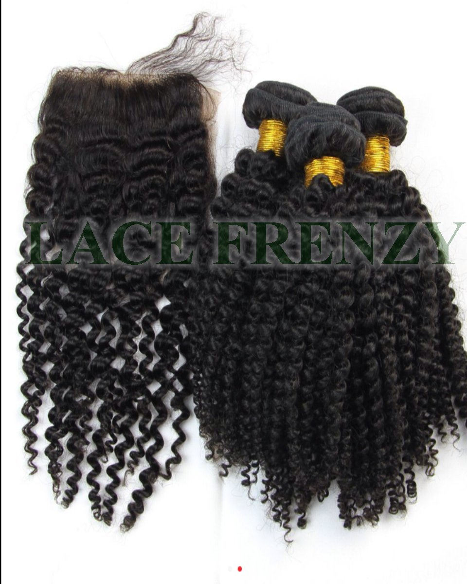 3.5x4 inches silk top kinky curly top closure machine weft bundle Kit