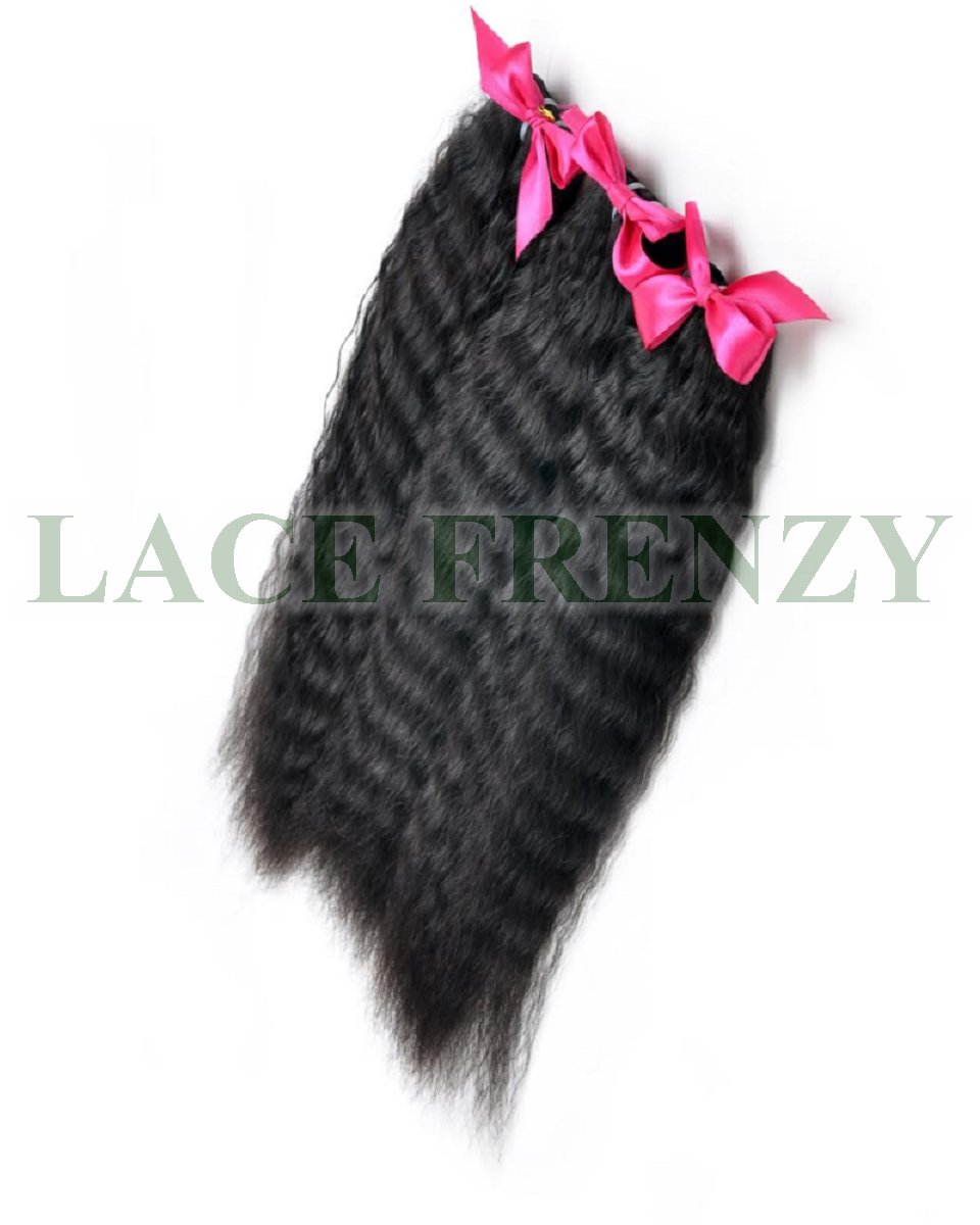 Grade 7A Virgin Hair - Kinky Straight - Layered Machine Weft Bundle Kit