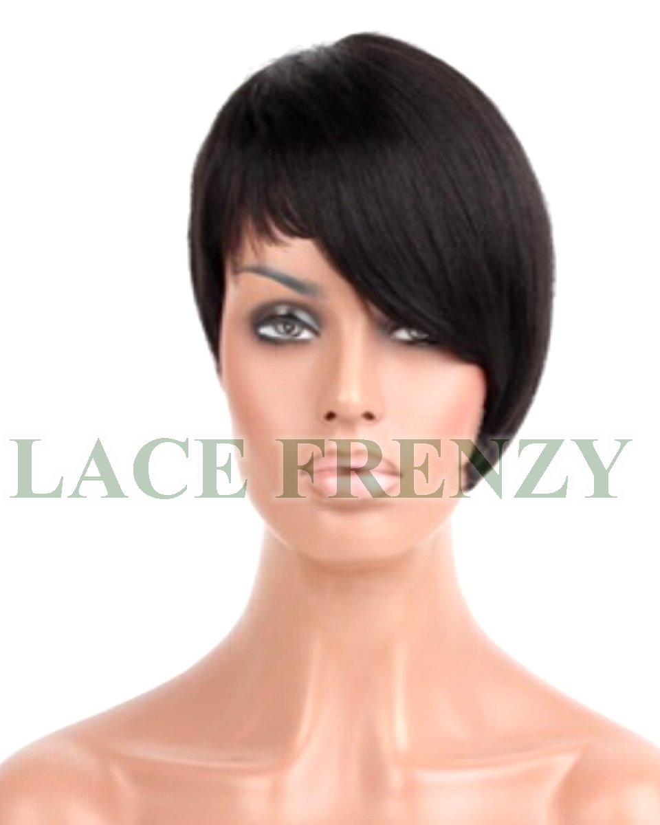 Mocha - 6 Inches - Asymmetrical Cut - Indian Remy Hair - Machine Made Wig