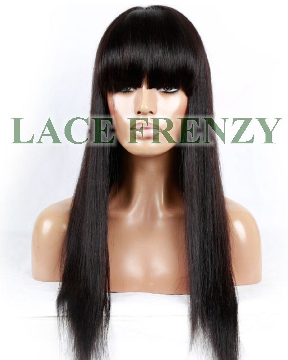 Daria - Yaki Straight w/ Bang - Brazilian Virgin Hair - Full Lace Wig